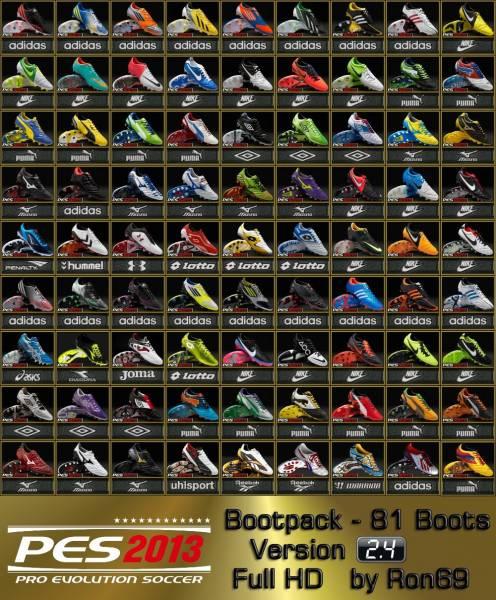 Новый пак качественных бутс для PES 2013 - Boot Pack v.2.1. Данный пак заме