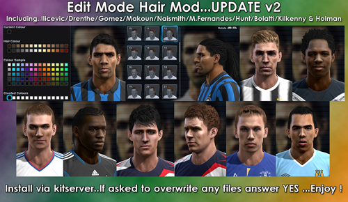 футбол 1 онлайн Update: Edit Mode Hair Mod For PES2012 UPDATE V2, патчи и моды