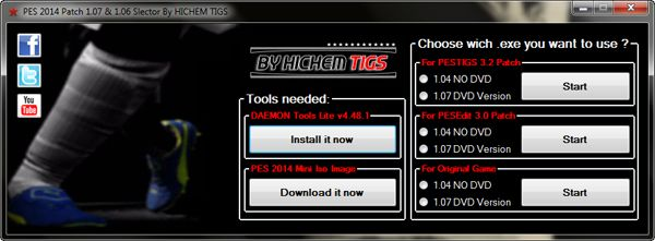 PES 2014 Patch 1.07 and 1.06 Selector