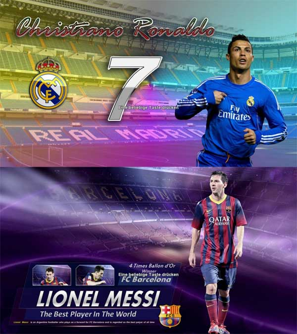 Christiano Ronaldo & Messi Startscreen