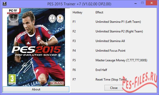 Pes 2015 Trainer +7 (v1.02.00 DLC2.00)(Updated)