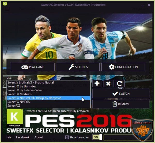 PES 2016 SweetFX Selector v4.0.0