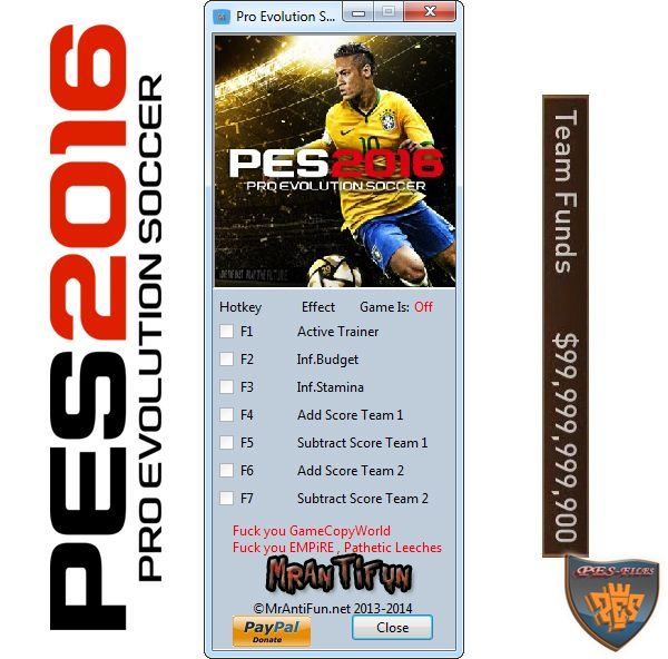 Pro Evolution Soccer 2016 V1.01 Trainer +4