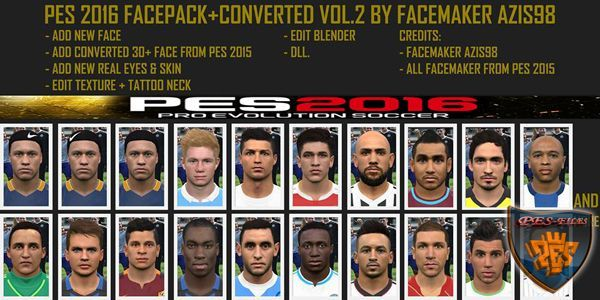 PES 2016 Facepack + Converted vol.2 by azis98