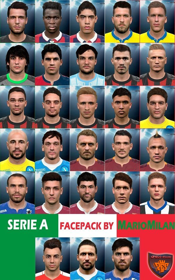 PES 2016 Big Serie A Facepack by MarioMilan