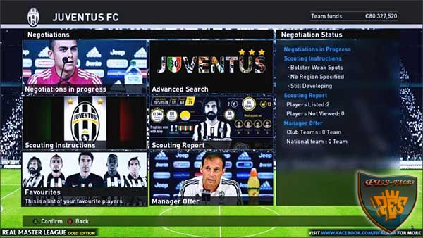 PES 2016 Real Master League Mod – Juventus Gold