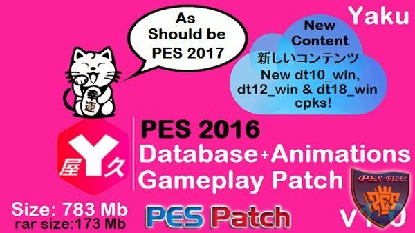 PES 2016 Database+Animations+Gameplay Patch v1.0 by Yaku
