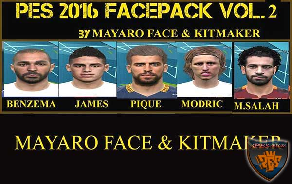 PES 2016 Face Pack Vol. 2 by Mayaro Face and Kit Maker