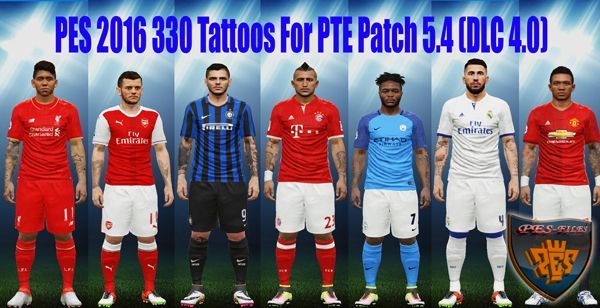 PES 2016 330 Tattoos For PTE Patch 5.4 (DLC 4.0)