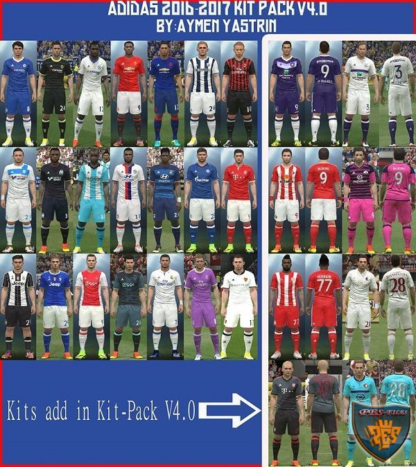 PES 2016 Adidas 2016-2017 Kits Pack V4.0 by YastRin