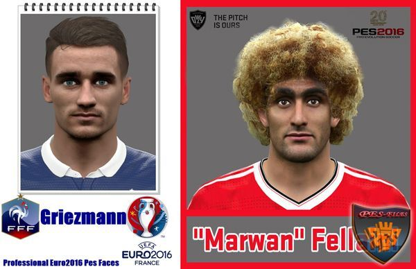 PES 2016 Face Antoine Griezmann and Fellaini