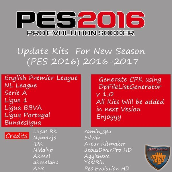 PES 2016 Update Kits For New Season 2016/17
