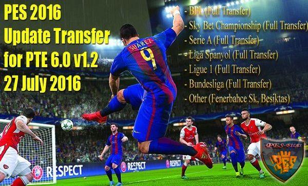 футбол 1 онлайн Update: PES 2016 Update Transfer For PTE 6.0 V1.2 27 July 2016 By