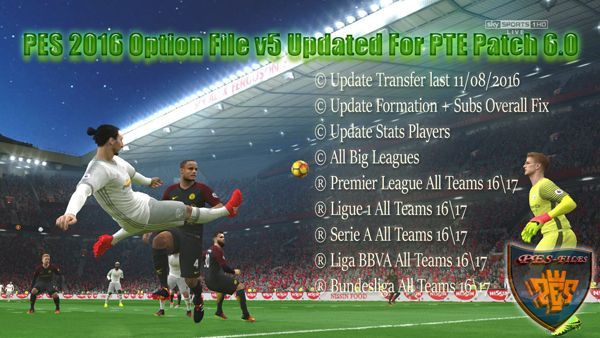 PES 2016 Option File v5 Updated For PTE Patch 6.0 by niniboy