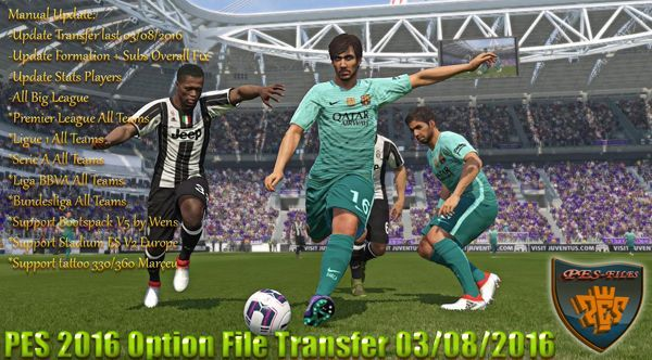 PES 2016 Option File Transfer 03/08/2016