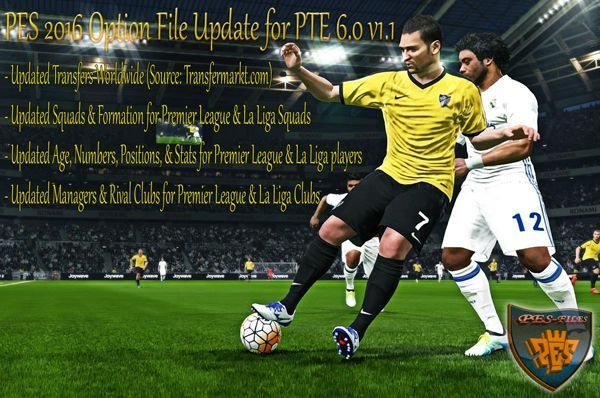 PES 2016 Option File Update for PTE 6.0 v1.1