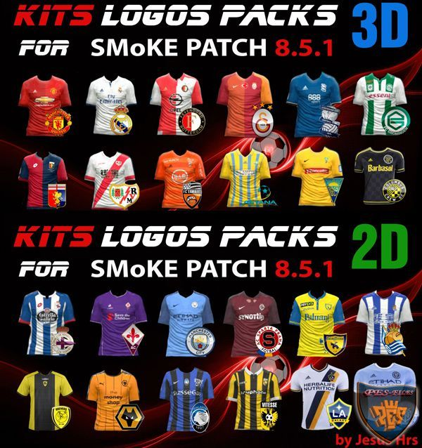 PES 2016 Kits Logos Packs 2D & 3D for SMoKE Patch 8.5.1
