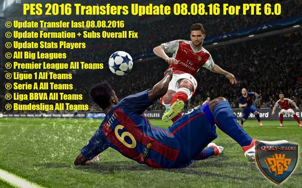 PES 2016 Transfers Update 08.08.16 For PTE 6.0 by niniboy