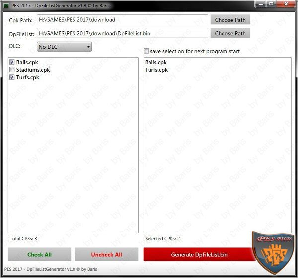PC PES 2017 DpFileList Generator v1.8 by Baris
