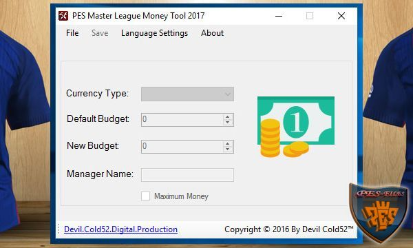 PES 2017 Master League Money Tool v1.00 by Devil Cold52
