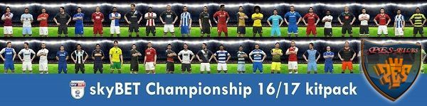 PES 2017 Skybet Championship full kits pack season 2016/17