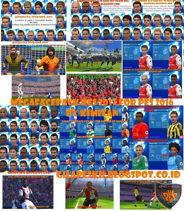 Mega FacePack PES 2017 for PES 2016 by Kimizan