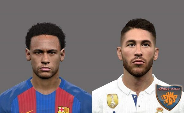 PES 2017 Face Neymar and Sergio Ramos by Tunizizou