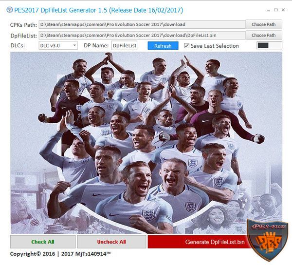 PES 2017 DpFileList Generator 1.5 by MjTs140914