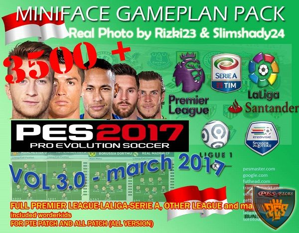 PES 2017 3500+ Miniface Gameplan vol 3.0