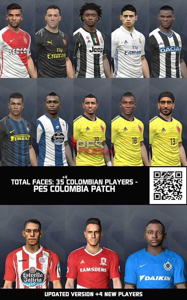 PES 2017 Updated Colombian Mega Facepack