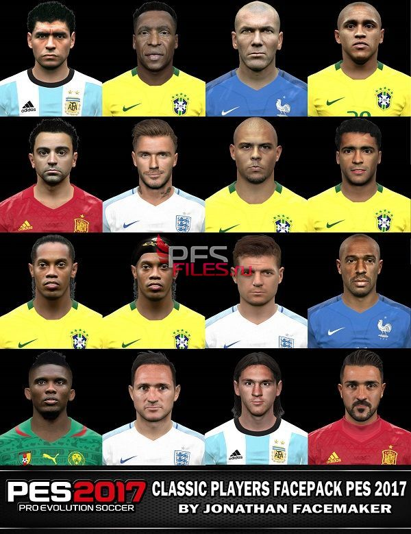 PES 2017 Classic Players Facepack by Jonathan Facemaker