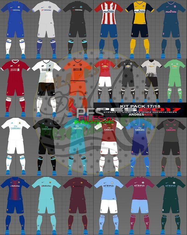 PES 2017 Kits Pack 2017/18 by Andres Kits