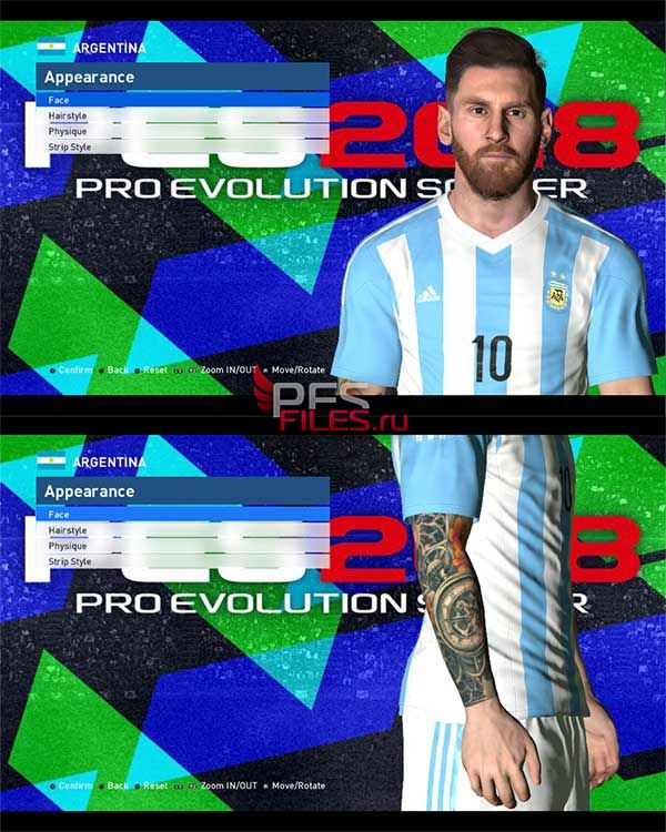 PES 2017 Lionel Messi New Tattoo + Face