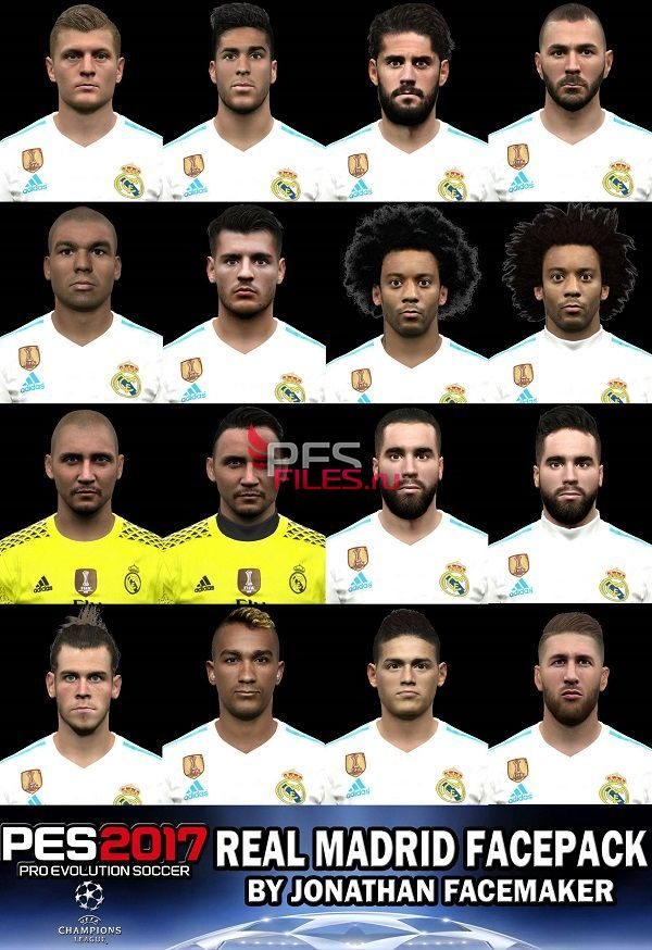 PES 2017 Real Madrid Facepack by Jonathan Facemaker