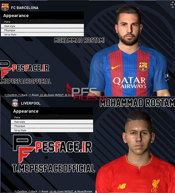Pes 2017 Jordi Alba and Firmino Face