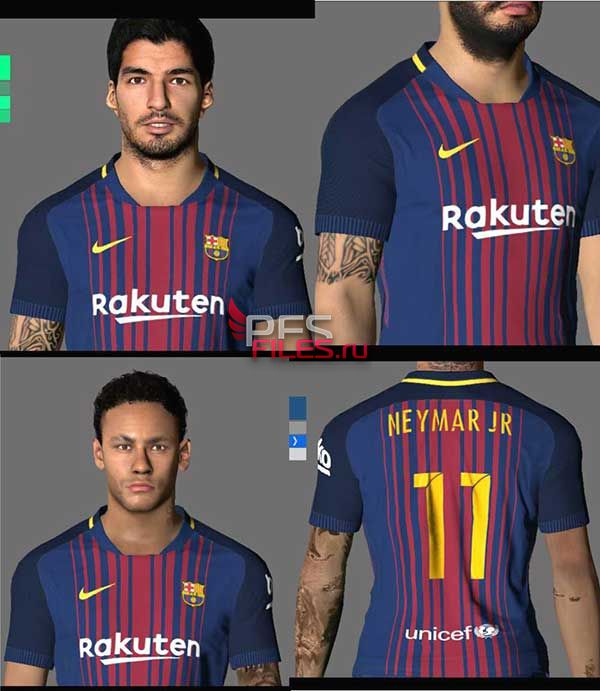 Pes 2017 Suarez and Neymar Faces + Tattoos