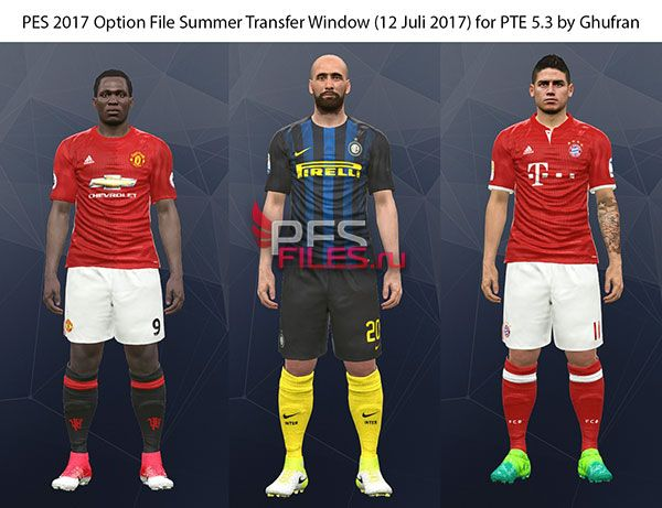 PES 2017 Option File Summer Transfer Window for PTE 5.3