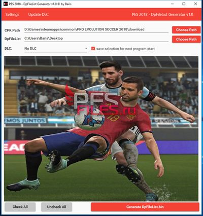 PES 2018 DpFileList Generator 2018 v1.1 by Baris