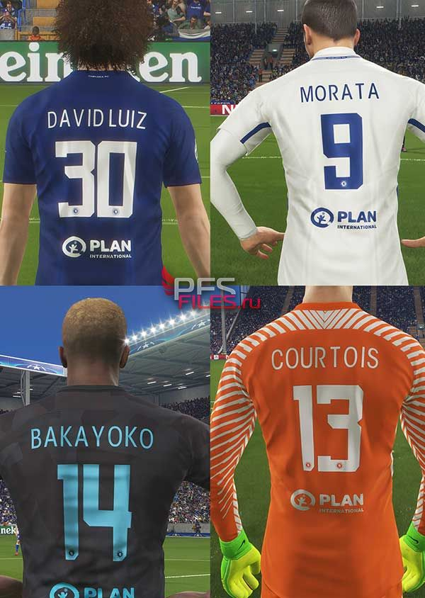Pes 2018 Chelsea CL Numbers & Fonts 2017/2018