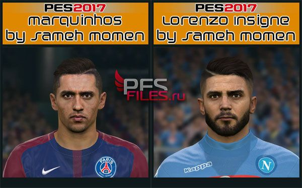 Pes 2017 Marquinhos and Insigne face