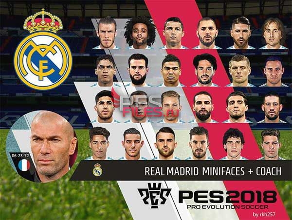 PES 2018 Real Madrid CF Mini Faces and Coach