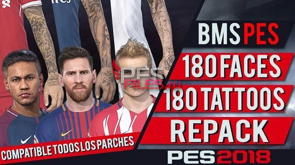 PES 2018 180 Faces and Tattoos Repack by bmS