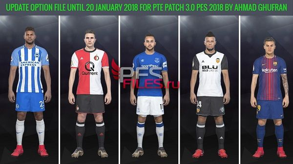 PES 2018 Update Option File 20.01.18 for PTE 3.0