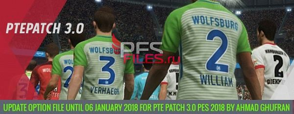 PES 2018 PTE Patch 2018 Option File 06.01.2018 by Ahmad Ghufran
