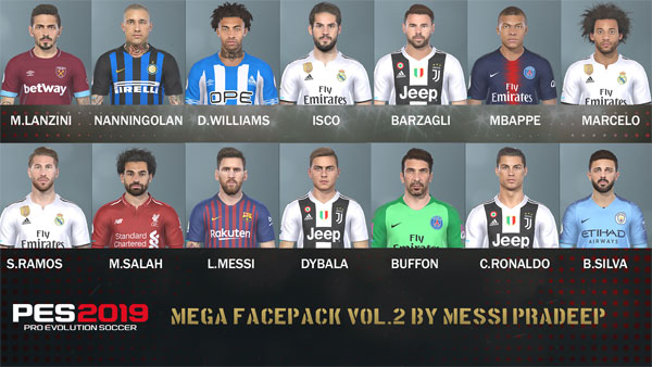 Pes 2019 Mega facepack vol 2 by Messi Pradeep, патчи и моды