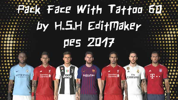 PES 2017 Face Pack With Tattoo 60
