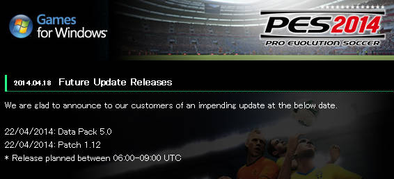 PES 2014 PATCH 1.12 AND DATA PACK 5.0